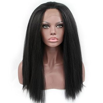 Cupidlovehair Kinky Straigt Coarse Yaki Synthetic Lace Front Wigs for Black Women Heat Resistant Fiber Natural Black (Hair Length 18