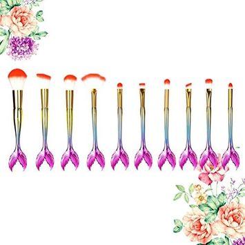 SMTSMT 10PCS Cosmetic Make Up Brushes Foundation Eyebrow Eyeliner Blush Concealer Brushes