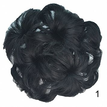 PrettyWit Hair Updo Hairpiece Ponytail Hair Extensions Wavy Curly Messy Hair Bun Chignons Hair Piece Wig Bridal Ponytail Extension Scrunchie with Claw Tray Ponytail-Jet Black 1