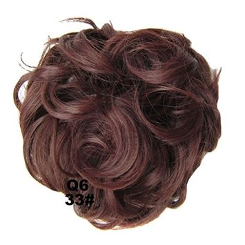PrettyWit Hair Extensions Wavy Messy Bun Chignons Piece Wig Hairpiece Scrunchy Scrunchie Updo Ribbon Ponytail-Dark Auburn 33#