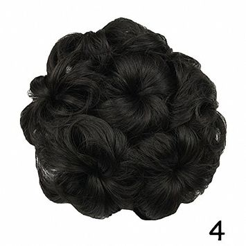 PrettyWit Wavy Curly Hair Bun Updo Extensions Donut Hair Chignons Hair Piece Wig Scrunchies Hairpiece Ribbon Ponytail Hair Extensions Bridal Drawstring Hair Chignons-Darkest Brown Near Black 4