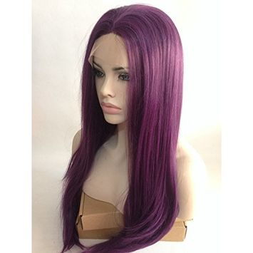 Cupidlovehair Long Purple Mixed Color Natural Wavy Wave Heat Resistant Synthetic Lace Front Wigs For Women