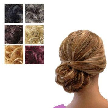PrettyWit Hair Extensions Wavy Messy Bun Chignons Piece Wig Hairpiece Scrunchy Scrunchie Updo Ribbon Ponytail-Black 1#