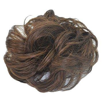 PrettyWit Hairpieces Short Curly Hair Extension Ombre Messy Hair Bun Updo Extensions Donut Hair Chignons Hair Piece Wig Scrunchy Bridal Drawstring Hair Chignons-Darkest Brown & Light Auburn 4M30