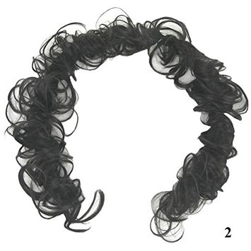 PrettyWit Hairpieces Short Curly Hair Extension Accessories for Women Messy Hair Bun Updo Extensions Hair Piece Wig Bridal Scrunchy-Black 2
