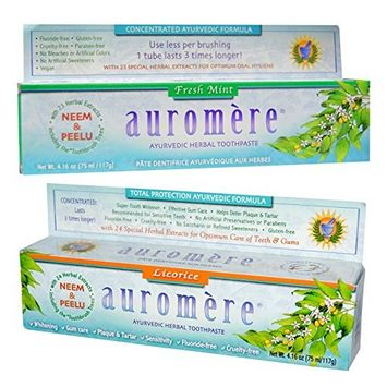 Auromere Fresh Mint Ayurvedic Herbal Toothpaste and Licorice Ayurvedic Herbal Toothpaste Bundle With Special Herbal Extracts For Optimum Oral...