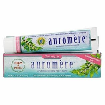 Ayurvedic Herbal Toothpaste Foam-Free Cardamom-Fennel - 4.16 oz. by Auromere (pack of 4)
