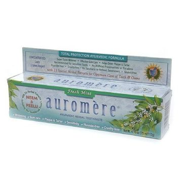 Ayurvedic Herbal Toothpaste Fresh Mint by Auromere - Fluoride-Free, Natural, with Neem and Vegan - 4.16 oz