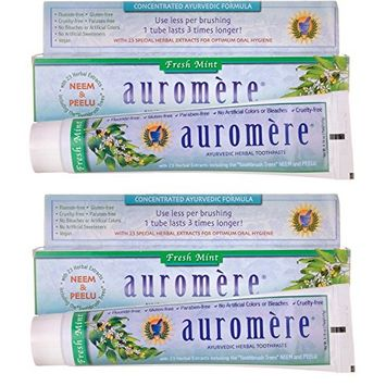 Ayurvedic Herbal Toothpaste Fresh Mint by Auromere - Fluoride-Free, Natural, with Neem and Vegan - 4.16 oz (2 Pack)