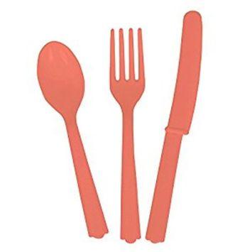 Coral Plastic Silverware Set for 6 Guests (18pcs)
