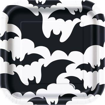 Black Bats Halloween Paper Dessert Plates, 7in, 10ct