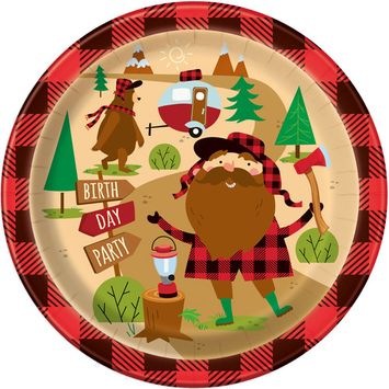 Unique Industries Buffalo Plaid Lumberjack Birthday Paper Dinner Plates, 9 in, 8ct