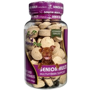 SENIOR DOG MULTIVITAMIN | Primo Pup Vet Health | Supports Physical and Mental Wellbeing | Vet Formulated | Easy to Digest | No Artificial Colors, Flavors, or Grains | Made in the USA | 60 Chewables