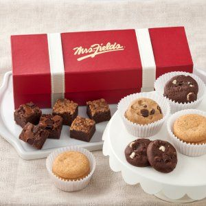 Mrs. Fields Classic Trunk includes 18 Assorted Nibblers and 12 Brownie Bites