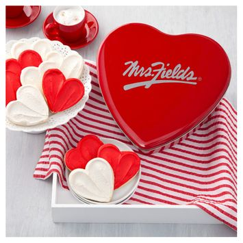 Mrs. Fields Mrs. Field Heart Shaped Cookie Tin include 12 Frosted Cookies