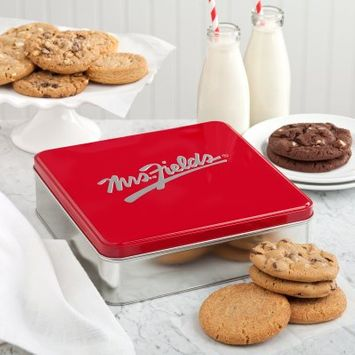 Mrs. Fields Classic Cookie Tin with One Dozen Cookies