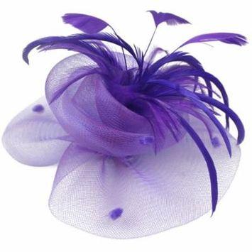 Coxeer Womens Ladies Cocktail Fascinator Feather Net Pillbox Hat Hair Clip (Purple)