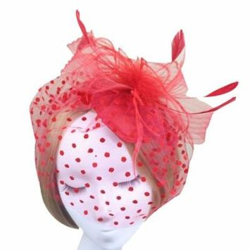 Coxeer Womens Flower Feather Veil Fascinator Pillbox Hat Hair Clip for Wedding Party (Red)