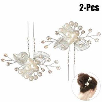 Coxeer 2PCS Hair Pins Decorative Leaves Pearl Bridal Barrettes Hair Clips Hair Accessories for Wedding Party