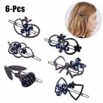 6PCS Hair Pin Fashion Elegant Rhinestone Crystal Alloy Hair Clip Side Clip Hair Barrette Hair Accessories for Women Girls