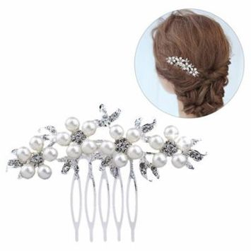 Wedding Hair Comb Fashion Luxury Decorative Rhinestone Pearl Jewelry Comb Bridal Headpiece Hair Clip Comb for Women