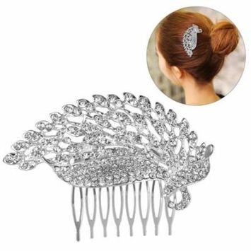 Bridal Hair Comb Fashion Elegant Rhinestone Leaf Shape Hair Clip Comb Jewelry Comb Hair Accessories for Wedding Women