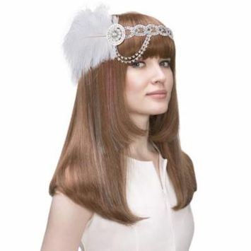 Coxeer Crystal Headpiece Ostrich Feather Fascinator Headband Hair Band Accessories for Women & Girls
