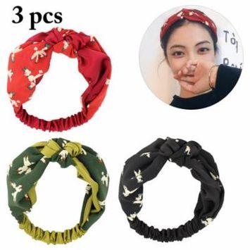 3PCS Women's Headbands Fashionable Cartoon Sheep Printed Head Wraps Hair Bands Hair Accessories