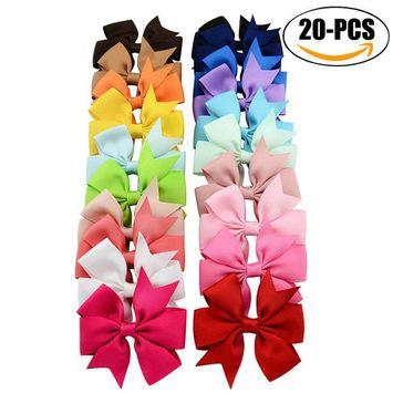 20Pcs Hair Clip set, Coxeer Kids' Grosgrain Ribbon Bowknot Multicolor Hair Clip for Children Girls' Hair Bow Headwear (Random Color)