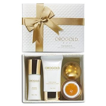 OROGOLD 24K Gold Luxury SkinCare Kit 2   Holiday Gift Set for Women   Facial Care Set with Deep Peeling Gel, Milk Cleanser and Body Cream   Be Bold,...