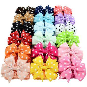 Two-way Hair Bow(3.1*1.7in/18Pcs), Coxeer Grosgrain Ribbon Clips Cute Fashion Hair Band Headbands for Baby Girls Teens Women Girls Kids