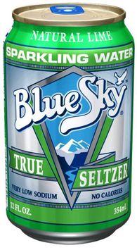 Blue Sky Lime Seltzer, 12 oz Cans, 24 ct