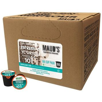 Maud's Gourmet Coffee Pods - Espress-O Yourself, 100-Count Single Serve Coffee Pods - Richly Satisfying Premium Arabica Beans, California-Roasted - Kcup Compatible, Including 2.0 [Espresso Blend]