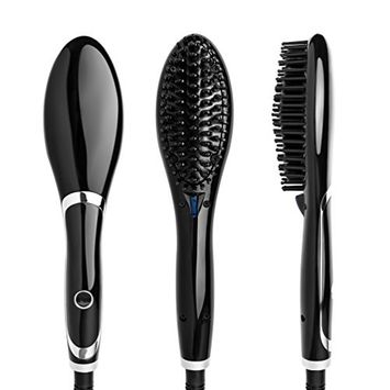 Straightening Brush Ceramic Heating Hair Straightener Brush Professional Temperature Display Styling Tools Anti-scald Comb Tooth Black and Silver Color