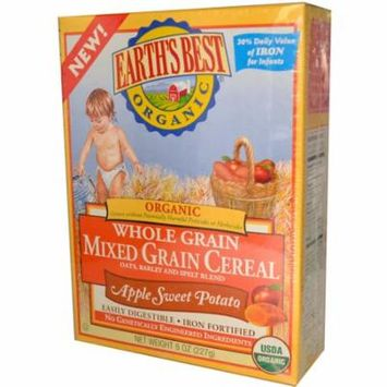 Earth's Best, Organic Whole Grain Mixed Grain Cereal, Apple Sweet Potato, 8 oz(pack of 3)