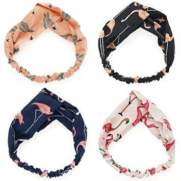 Coobbar 4Pc Elastic Turban Head Wrap Headband Cartoon Flamingo Printed Hairbands Headdress Rabbit Ears Headbands for Women