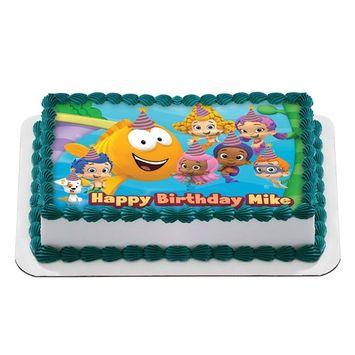 Bubble Guppies Quarter Sheet Edible Photo Birthday Cake Topper. ~ Personalized! 1/4 Sheet