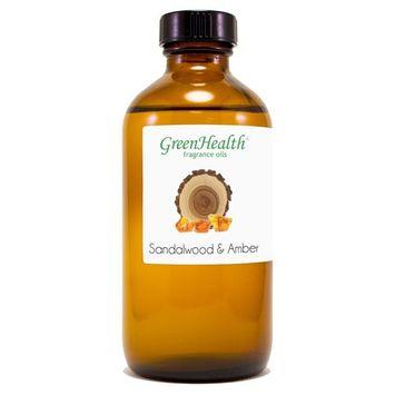 8 fl oz Sandalwood & Amber Fragrance Oil (Glass Bottle w/Cap) - GreenHealth