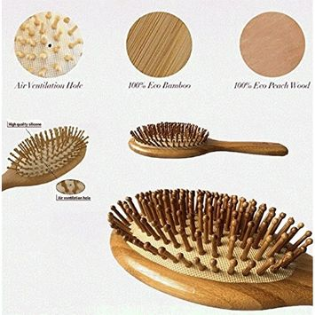 Jinon Bamboo Hair Brush,Natural Bamboo Detangling Hair Brush for All Hair Types,Bamboo Bristles Pin Massage Scalp For Healthy Hair Perfect for Wet or Dry Hair - for Men/Women