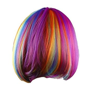 SODIAL(R) Woman's wig rainbow short striaght BOBO haircut cosplay halloween patry synthetic wigs (Color: Multicolor)