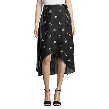 Mixed-Print Asymmetric Midi Skirt