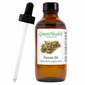 Fennel Essential Oil - 4 fl oz (118 ml) Glass Bottle w/ Cap and Glass Dropper - 100% Pure Essential Oil by GreenHealth