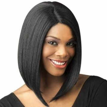 Female Fashion Bobo Wig Women Lady Short Straight Black Hair Side Parting Hair One Piece Synthetic Hair Full Head Wig