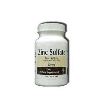 4 Pack Rising Pharm Zinc Sulfate Capsules 220mg 100 Count Each