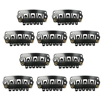 TOOGOO(R) Black Snap Clips 10pcs U-shape Metal Clips for Hair Extensions DIY
