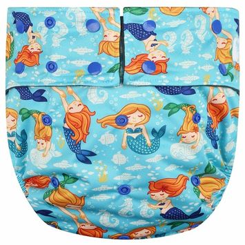 Happy Endings Teen/Adult Stain Resistant Snap Closure Reusable Cloth Diaper Incontinence - Mermaids