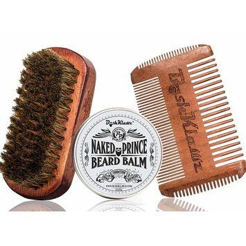 Naked Prince Beard Balm Leave in Conditioner, 4Klawz Pocket Beard Comb & BoarKlawz Beard Brush Gift Set Beard Care Grooming Kit Men's