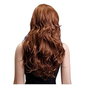 SODIAL(R) Long Brown Wavy Wigs Points Bang Synthetic Wig for Women (Color: Brown)
