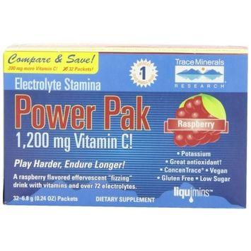 Trace Minerals Research Liqumins Power pak, Electrolyte, Stamina, Raspberry , 1 pak (Pack of 2)