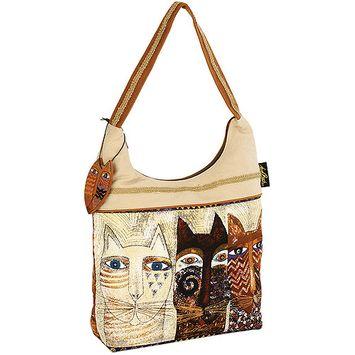 Laurel Burch LB4762 Scoop Tote Zipper Top 15 in. X4 in. X13 in. -Ancestral Cats